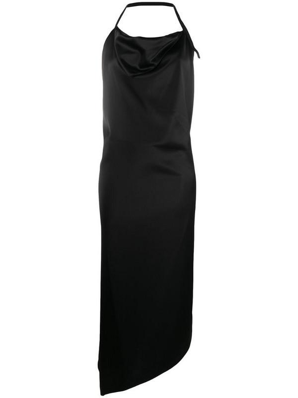 Ssheena asymmetric midi dress in black