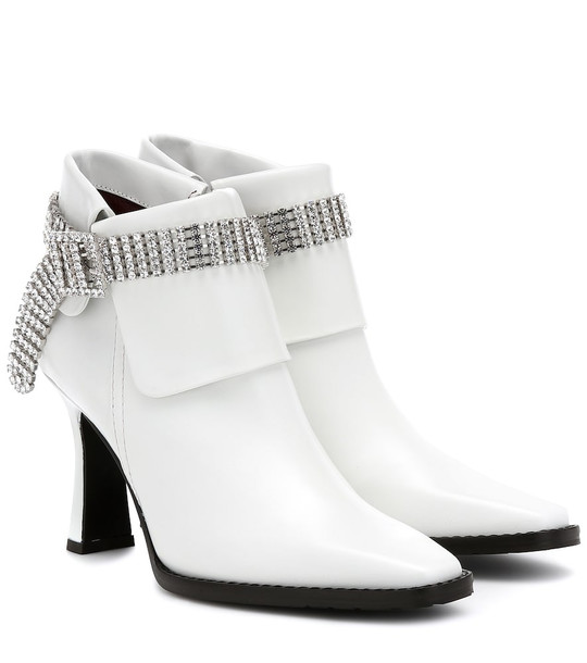 Sies Marjan Niki embellished leather ankle boots in white