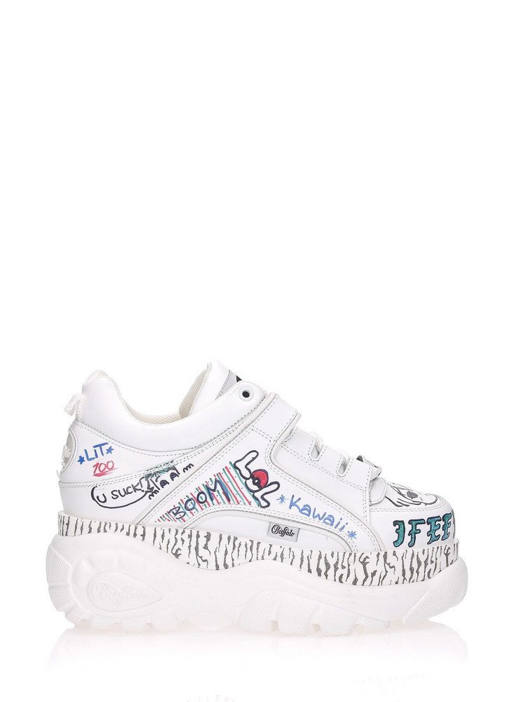 Buffalo Sneakers Graffiti in white