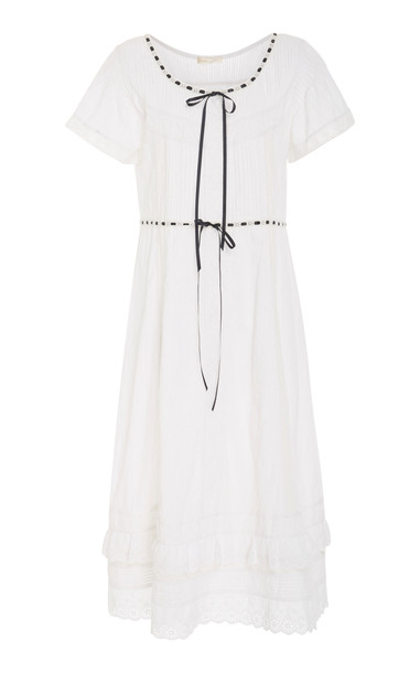 LoveShackFancy Madeline Cotton Maxi Dress Size: XS in white