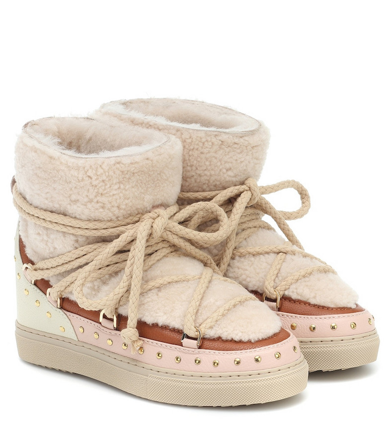 Inuikii Curly Rock shearling and leather boots in beige