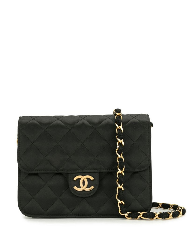 Chanel Pre-Owned 1985-1990 diamond-quilted shoulder bag in black