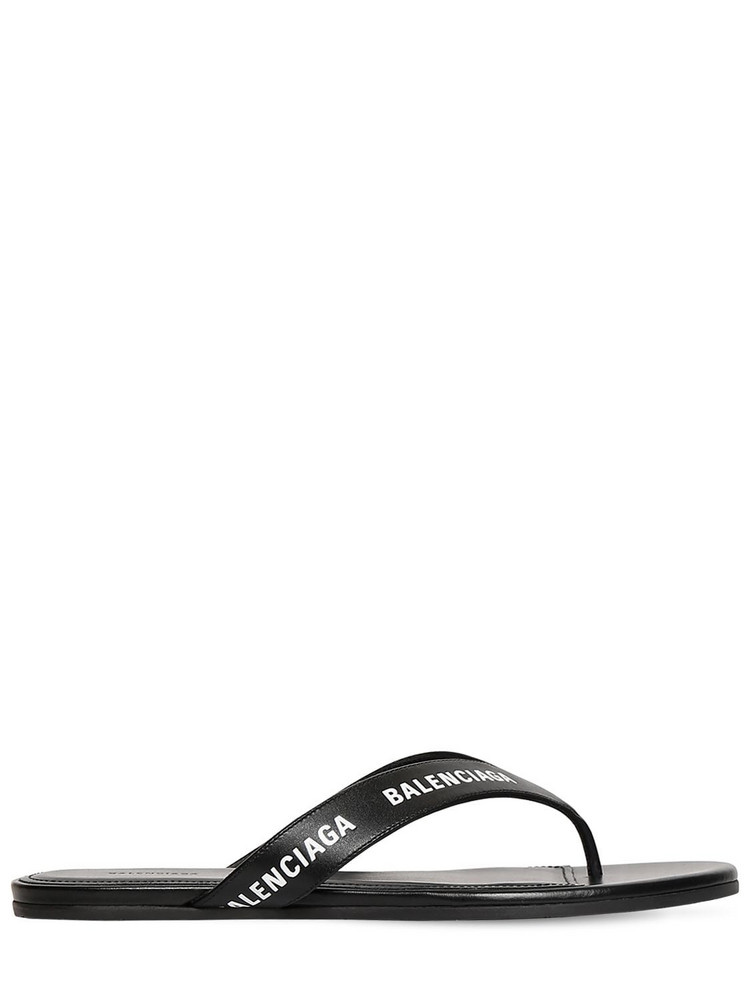 BALENCIAGA 10mm Leather Thong Sandals in black