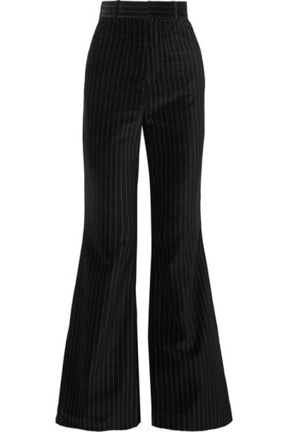 Situationist - Pinstriped Cotton-velvet Flared Pants - Black