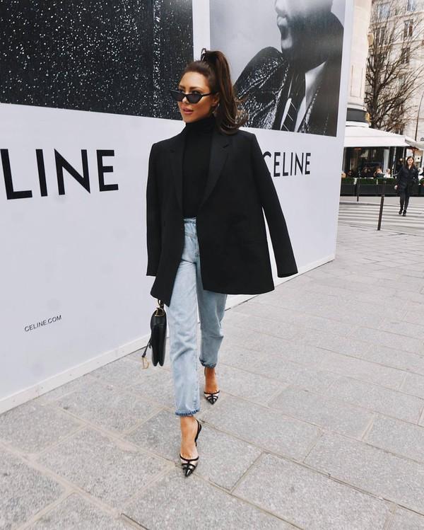 jacket black blazer double breasted wool pumps mom jeans black turtleneck top black bag dior bag