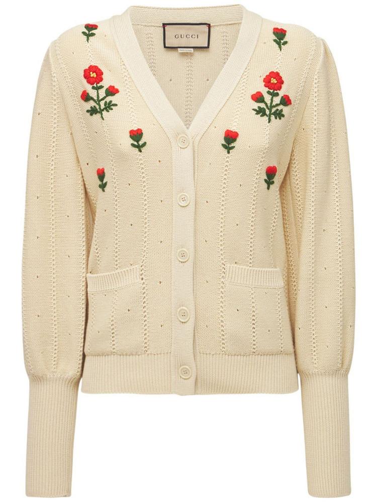 GUCCI Cotton & Silk Knit Cardigan in red / multi