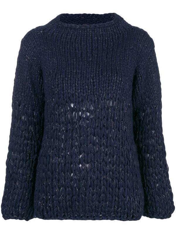 Gentry Portofino lurex knit jumper in blue
