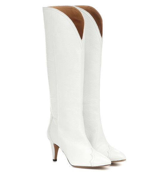 Isabel Marant Lestan knee-high leather boots in white