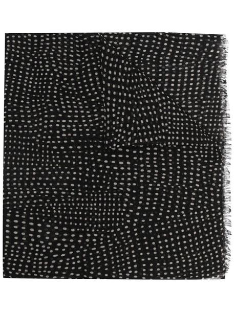 Saint Laurent polka dot fringed scarf - Black