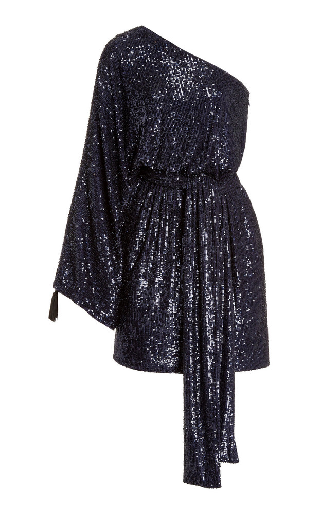 Dundas Sequined One-Shoulder Mini Dress in navy