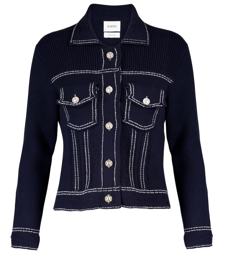 Barrie Cashmere and cotton knit jacket in blue