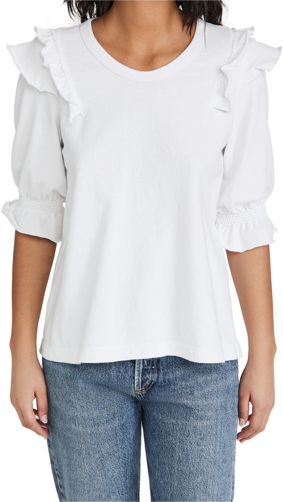 Wilt Shrunken Ruffle Crew Tee in white