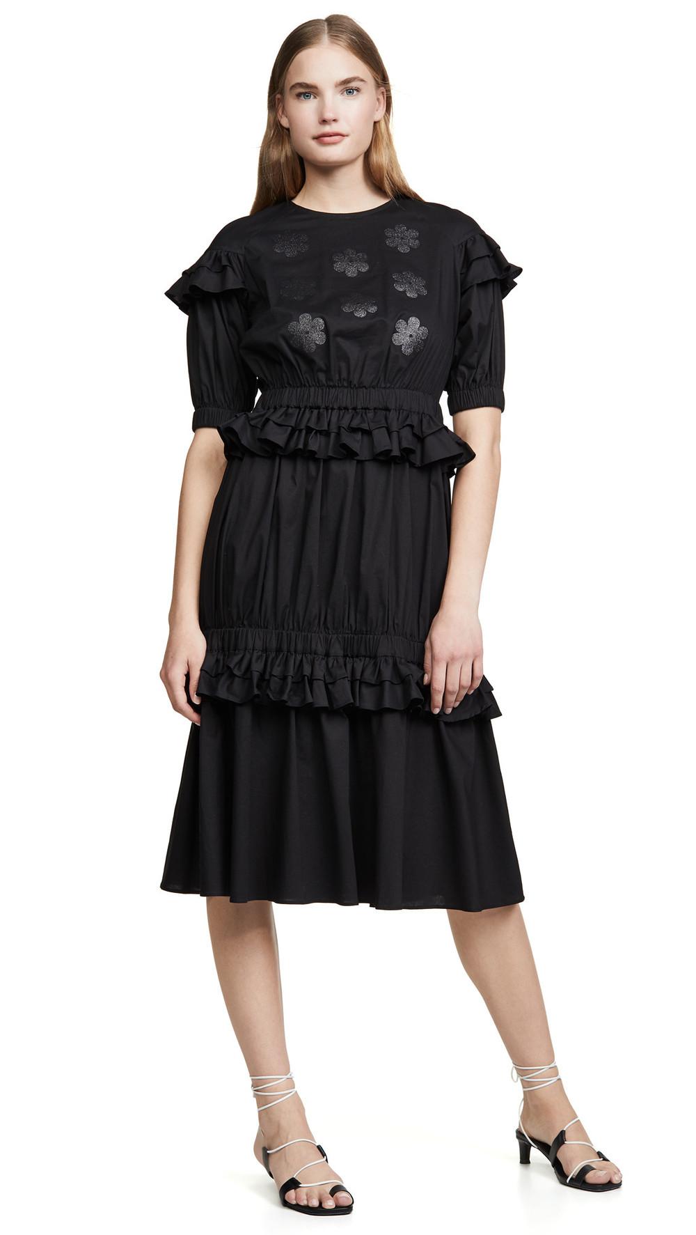 Paskal Short Sleeve Frilled Dress with Floral Appliques in black