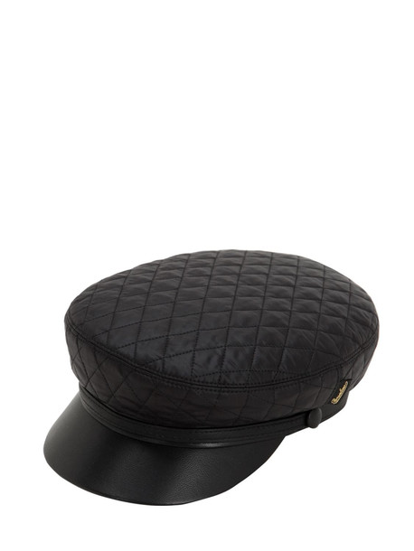 BORSALINO Leather & Quilted Nylon Sailor Hat in black