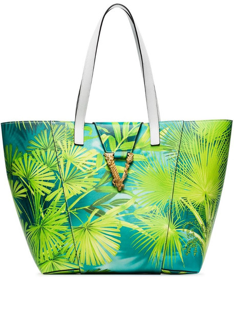 Versace tropical Virtus tote in green