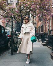 dress,midi dress,shearling jacket,sneakers,handbag