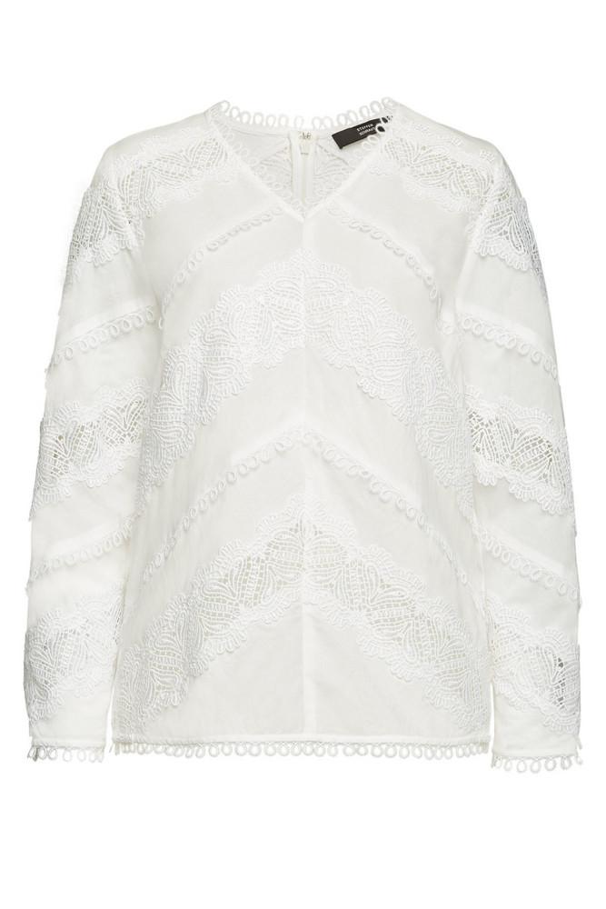 Steffen Schraut Embroidered Cotton Blouse  in white