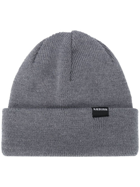 Raeburn ribbed-knit logo patch beanie in grey