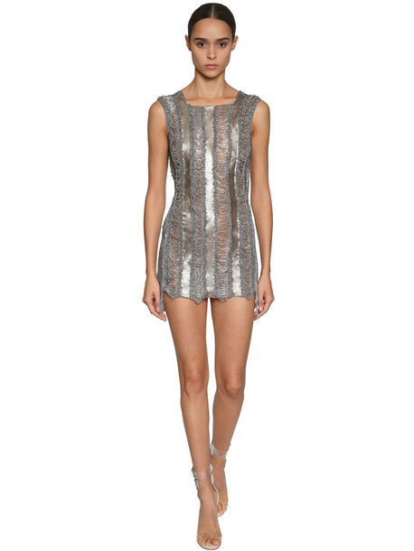 JULIEN MACDONALD Embellished Metal & Knit Mesh Mini Dress in silver