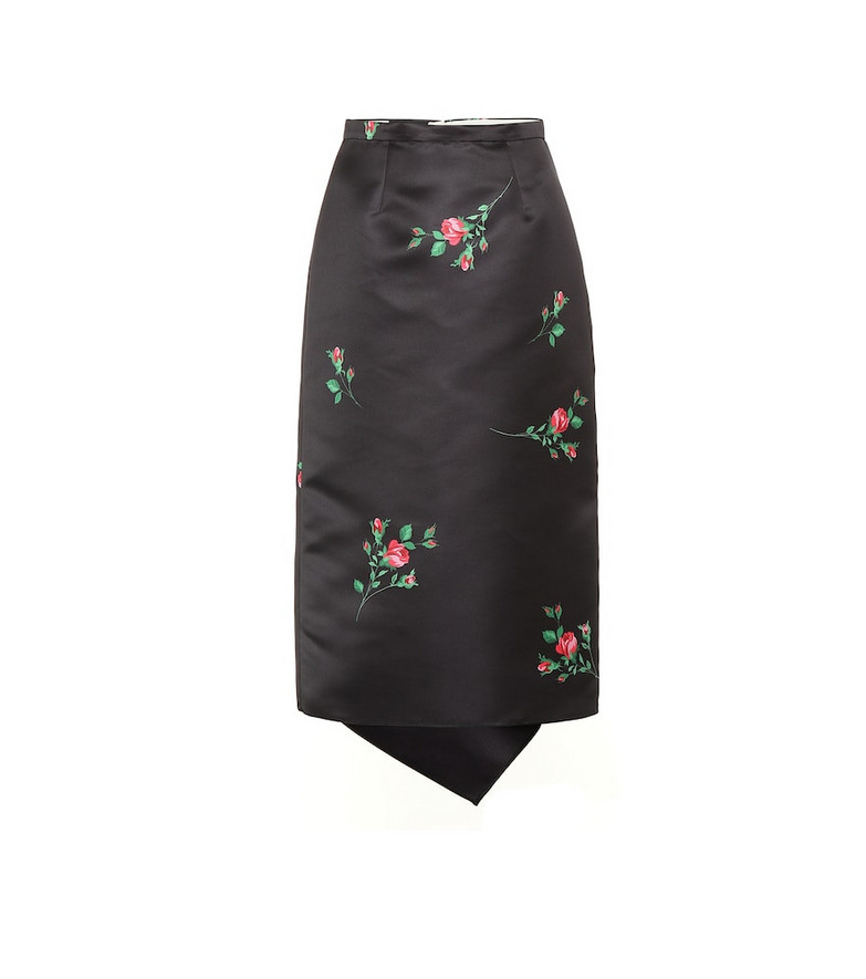 Rochas Floral satin midi skirt in black