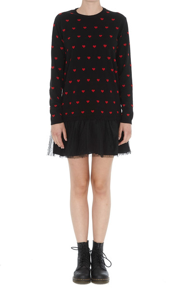 Red Valentino Hearts Detail Dress in black