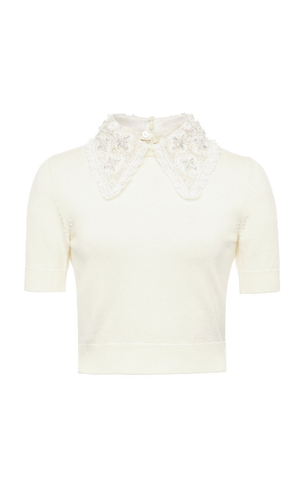 Miu Miu Pearl-Embellished Wool Cropped Top in white