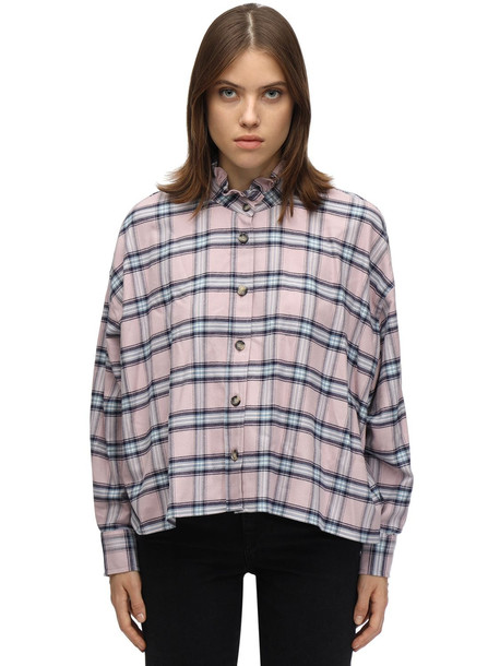 ISABEL MARANT ÉTOILE Ilaria Plaid Cotton Flannel Shirt in blue / pink