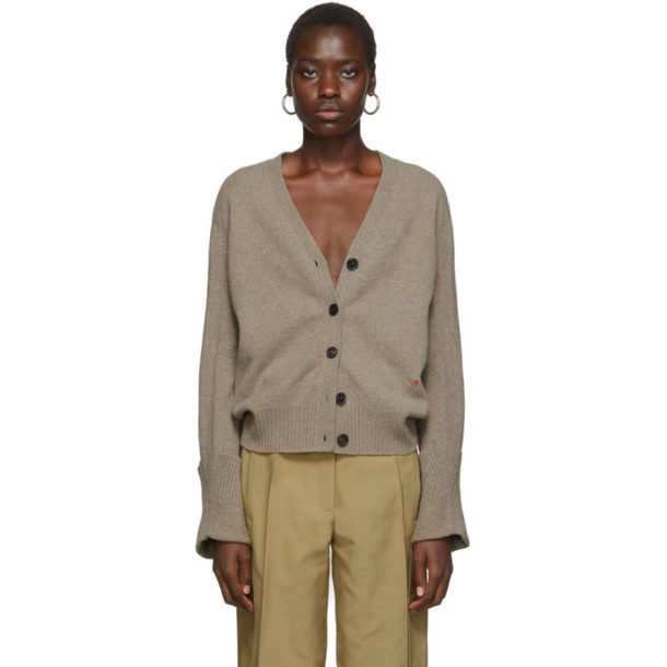 Victoria Beckham Brown Rolled Cuff V-Neck Cardigan