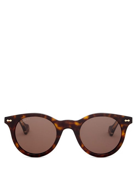 Gucci - Engraved-frame Round Acetate Sunglasses - Mens - Brown