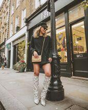 shoes,knee high boots,snake print,blazer dress,black top,crop tops,beret
