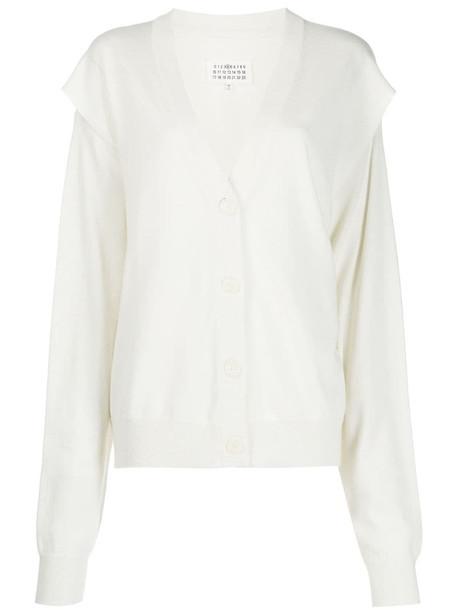 Maison Margiela arm-slit cardigan in white