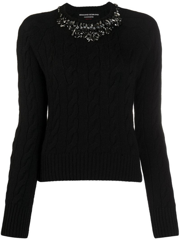 Ermanno Scervino crystal-neck cable knit sweater in black