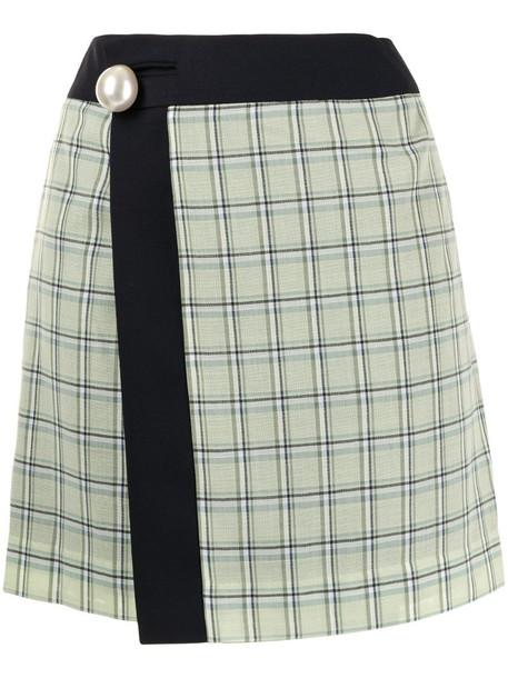 Kimhekim checked wool mini skirt in green
