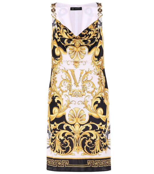 Versace V Barocco satin dress in white