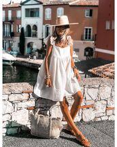 dress,white dress,mini dress,flat sandals,ruffle dress,bag