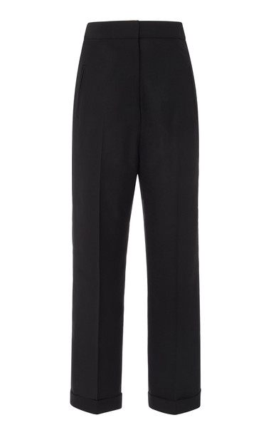 Jacquemus Cropped Wool Straight-Leg Pants Size: 38 in black