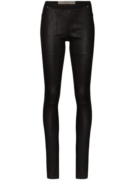 Rick Owens mid-rise leather leggings in black