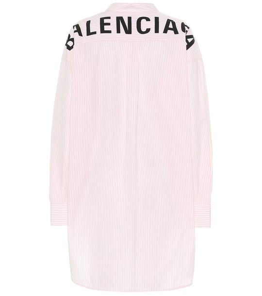 Balenciaga Oversized striped cotton shirt in pink