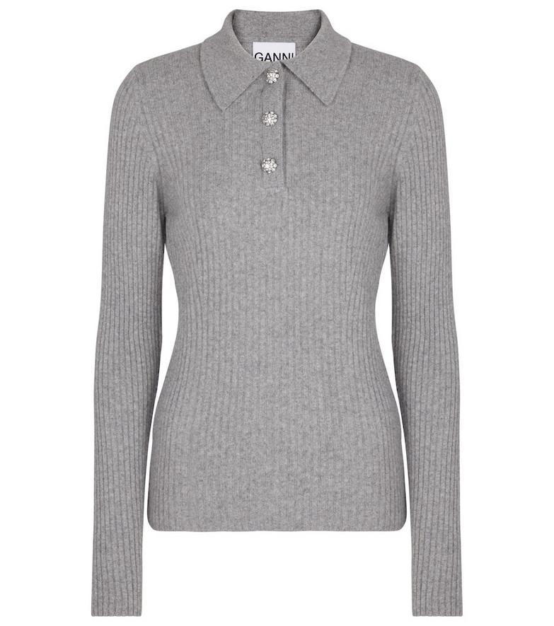 Ganni Wool-blend polo sweater in grey