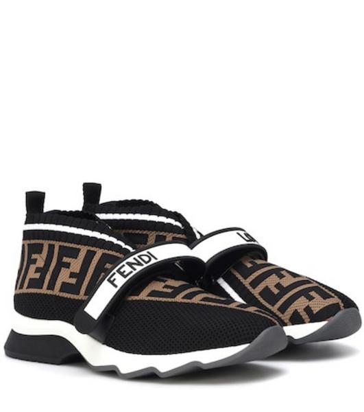 Fendi Rockoko knit sneakers in brown