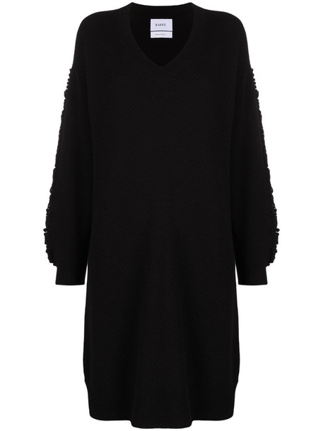 Barrie textured sleeeve cashmere dress in black
