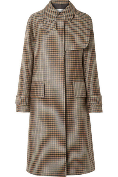Victoria Beckham - Oversized Checked Wool Coat - Brown