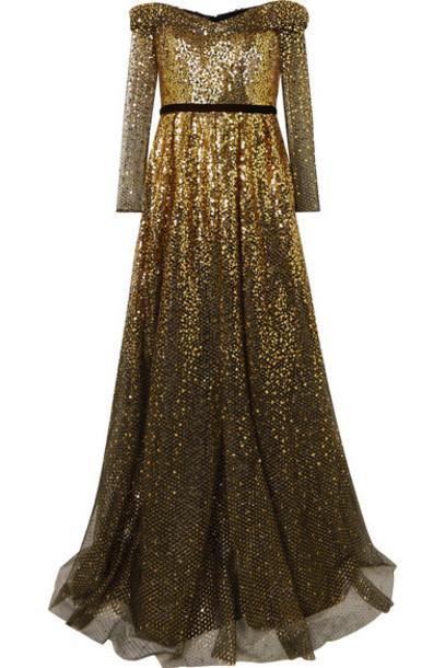 Marchesa Notte - Off-the-shoulder Velvet-trimmed Ombré Sequined Tulle Gown - Black