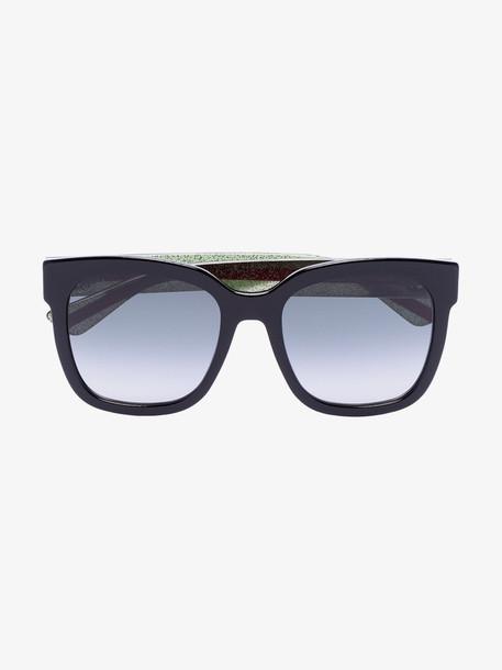 Gucci Eyewear black stripe arm square sunglasses