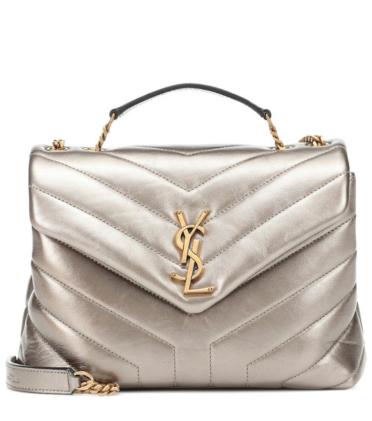 Saint Laurent Loulou Small leather shoulder bag in silver