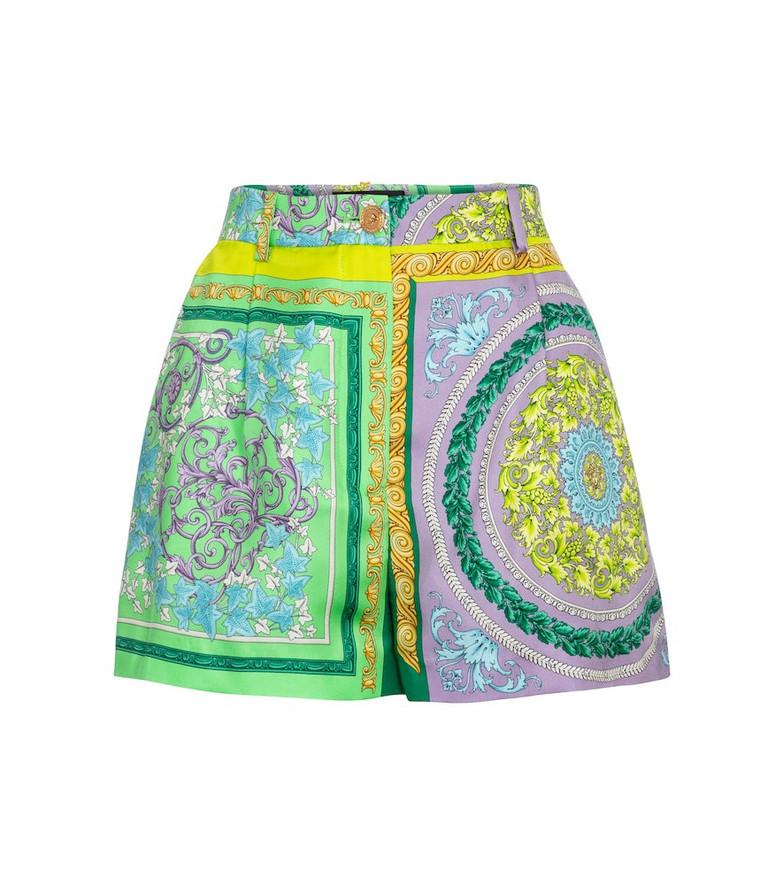 Versace Barocco Mosaic printed silk shorts