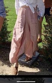 pants,pastel pink,pastel,harem pants,pockets