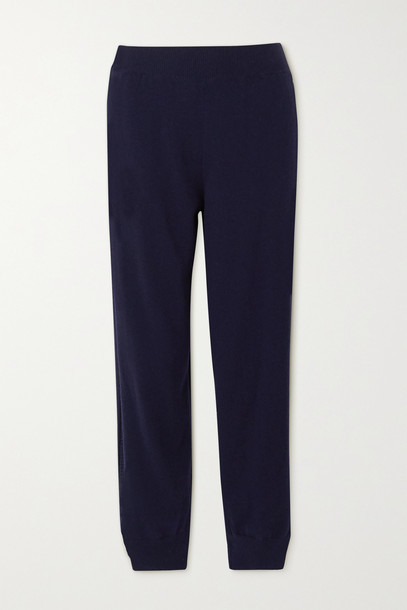 STELLA MCCARTNEY - + Net Sustain Crochet-trimmed Cashmere And Wool-blend Track Pants - Blue