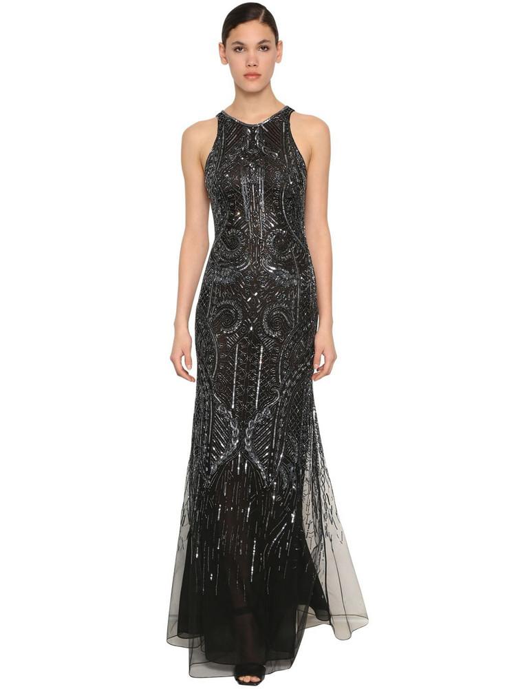 ROBERTO CAVALLI Bead & Sequin Embellished Chiffon Dress in black