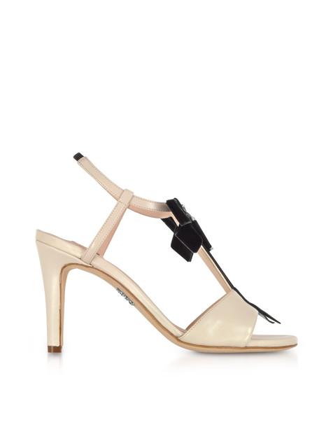 Rodo Ivory Leather Zip Sandals W/velvet Bow